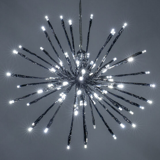 """12"""" Silver Starburst LED Lighted Branches, Cool White Twinkle Lights, 1 pc"""