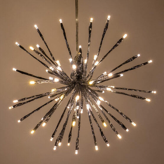 """12"""" Silver Starburst LED Lighted Branches, Warm White Twinkle Lights, 1 pc"""