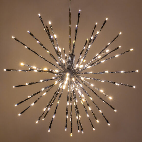 """18"""" Silver Starburst LED Lighted Branches, Warm White Twinkle Lights, 1 pc"""