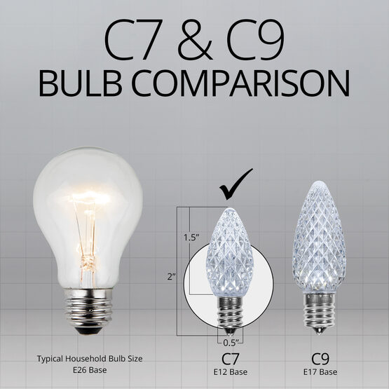 C7 LED Light Bulbs, Cool White, by Kringle Traditions TM