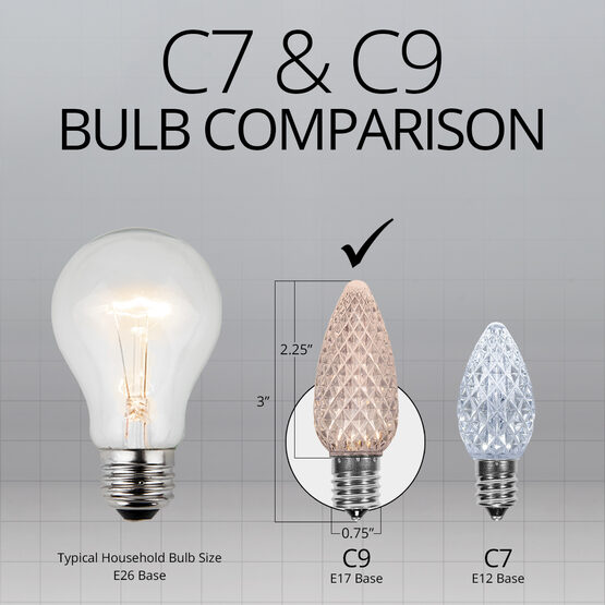 C9 OptiCore LED Light Bulbs, Warm White Twinkle