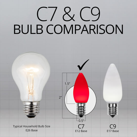 C7 Smooth OptiCore LED Light Bulbs, Red