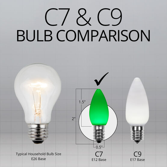 C7 Smooth OptiCore LED Light Bulbs, Green