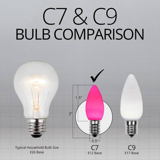 C7 Smooth OptiCore LED Light Bulbs, Pink
