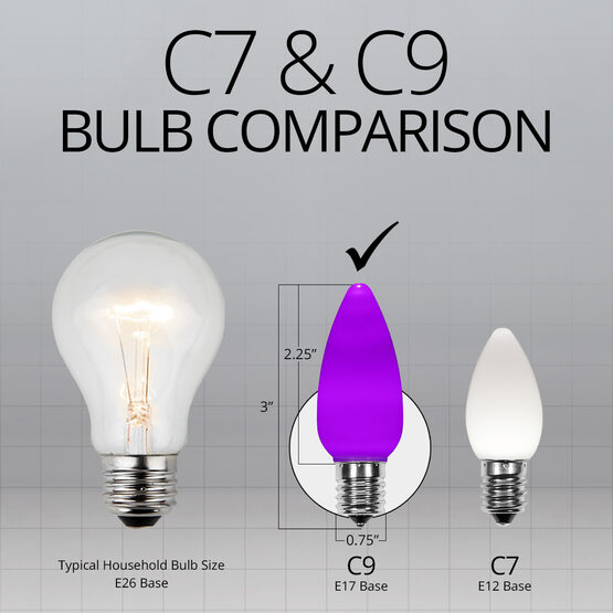 C9 Smooth OptiCore LED Light Bulbs, Purple