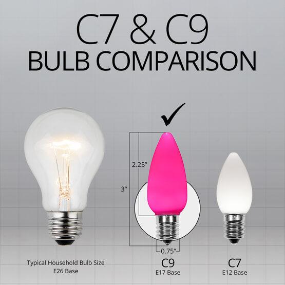 C9 Smooth OptiCore LED Light Bulbs, Pink