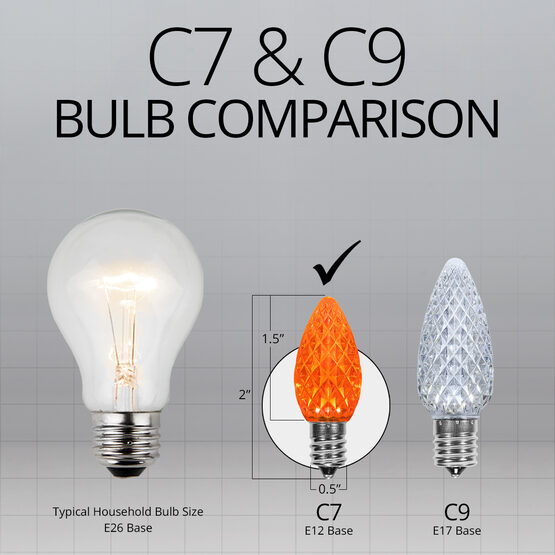 C7 OptiCore LED Light Bulbs, Amber / Orange