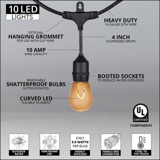 30' Commercial Patio String Light Set, 10 Warm White S14 FlexFilament LED Shatterproof Bulbs, Suspended, Black Wire