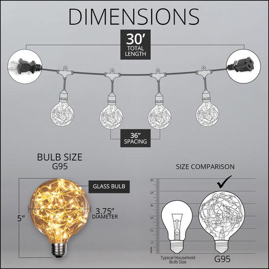 30' Commercial Patio String Light Set, 10 Warm White G95 LEDimagine TM Fairy Light Bulbs, Suspended, Black Wire