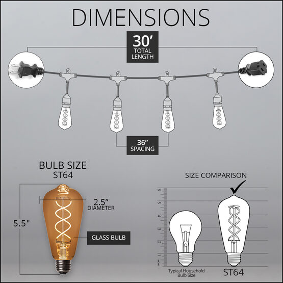 30' Commercial Patio String Light Set, 10 Warm White ST64 FlexFilament LED Glass Bulbs, Suspended, Black Wire