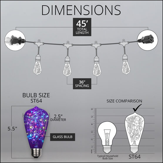 45' Commercial Patio String Light Set, 15 RGB Color Change ST64 LEDimagine TM Fairy Light Bulbs, Suspended, Black Wire