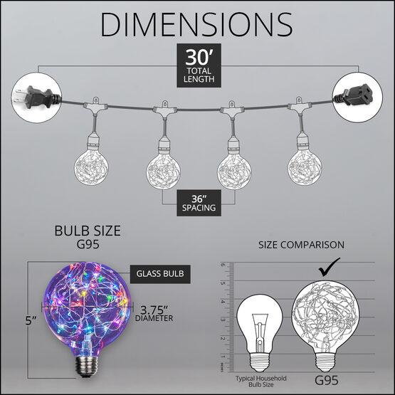 30' Commercial Patio String Light Set, 10 RGB Color Change G95 LEDimagine TM Fairy Light Bulbs, Suspended, Black Wire