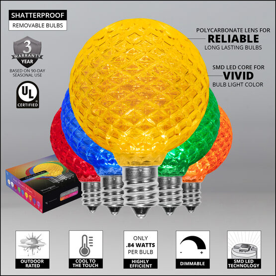 25' Patio String Light Set, 25 Multicolor G50 OptiCore LED Bulbs, White Wire