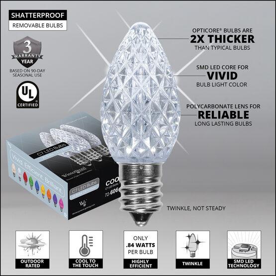 C7 OptiCore LED Light Bulbs, Cool White Twinkle