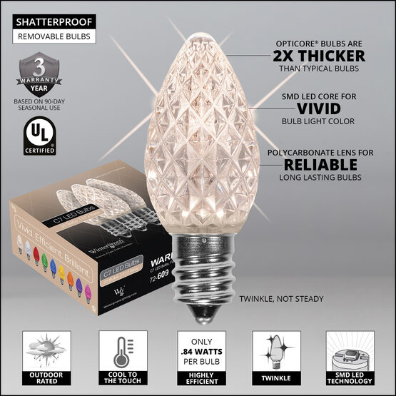 OptiCore C7 Commercial LED String Lights, Warm White Twinkle, 25 Lights, 25'