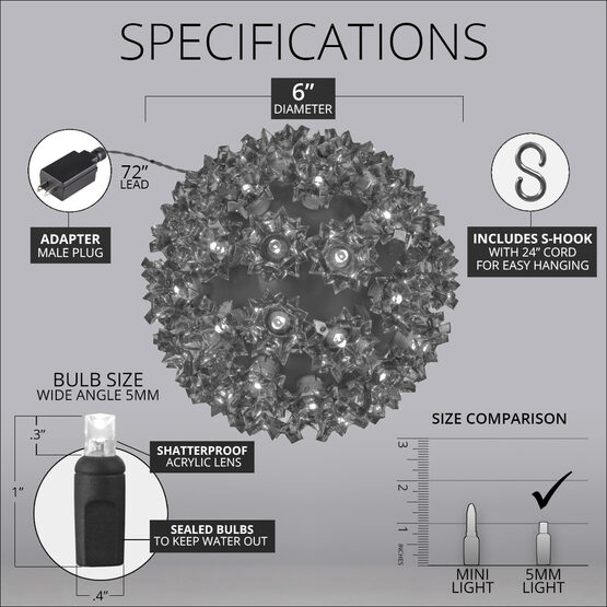 "6"" Light Sphere, 70 Multi-Function RGB LED Lights"