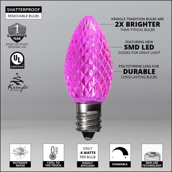 C7 LED Light Bulbs, Pink, by Kringle Traditions TM