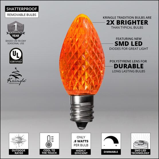 C7 LED Light Bulbs, Amber / Orange, by Kringle Traditions TM