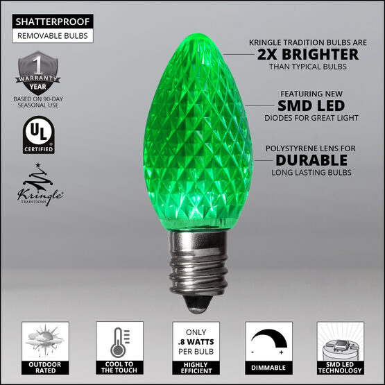 C7 LED Light Bulbs, Green, by Kringle Traditions TM