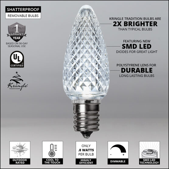 C9 LED Light Bulbs, Cool White, by Kringle Traditions TM