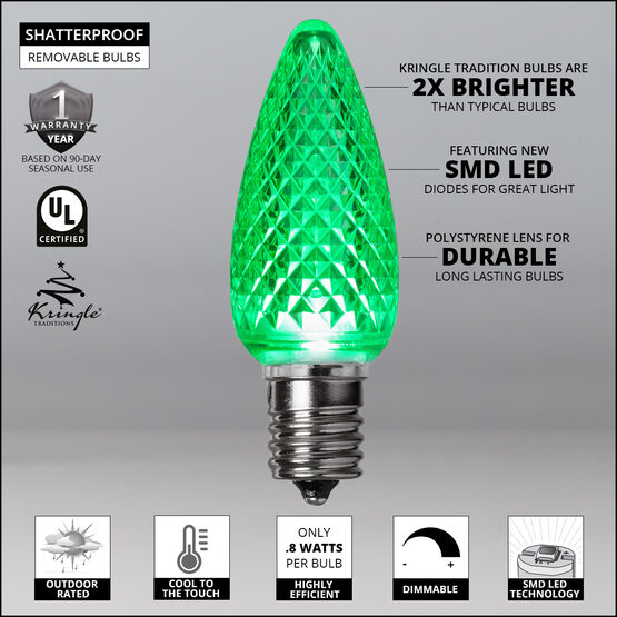 C9 LED Light Bulbs, Green, by Kringle Traditions TM