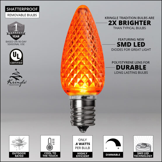 C9 LED Light Bulbs, Amber / Orange, by Kringle Traditions TM