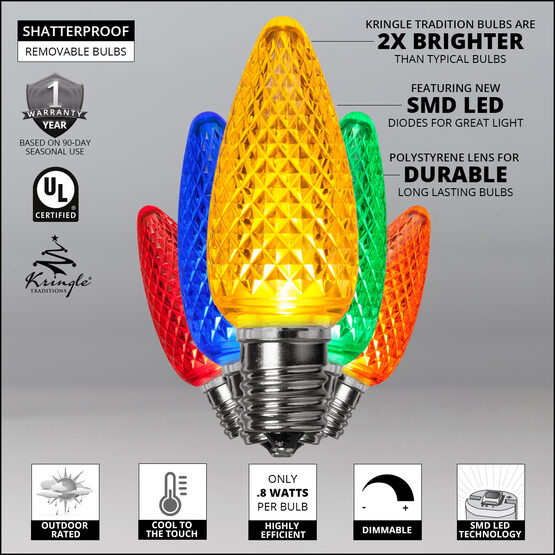C9 LED Light Bulbs, Multicolor, by Kringle Traditions TM