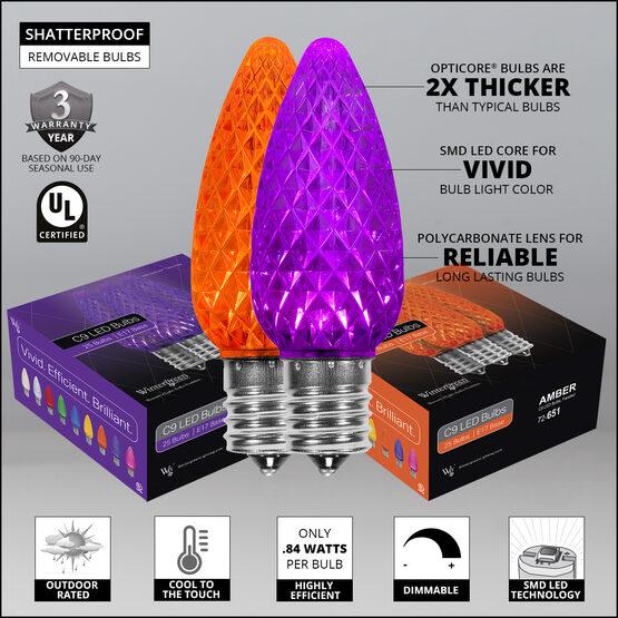 OptiCore C9 Commercial LED String Lights, Amber / Purple, 50 Lights, 50'