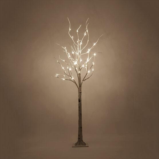 5' Warm White LED Birch Tree