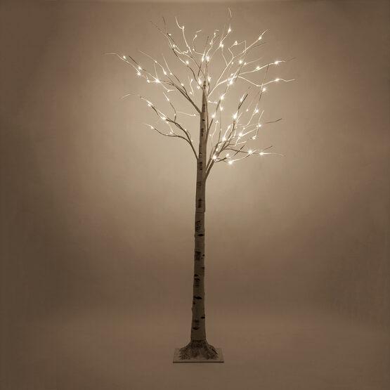 7' Warm White LED Birch Tree