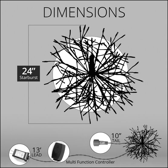 """24"""" Silver Starburst LED Lighted Branches, RGB Lights, 1 pc"""