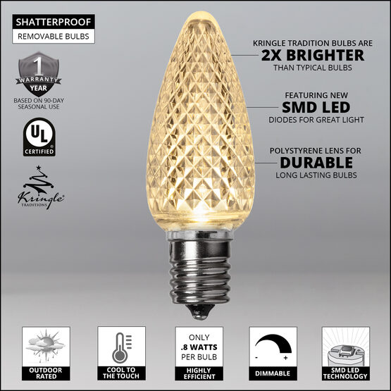C9 LED Light Bulbs, Warm White, by Kringle Traditions TM
