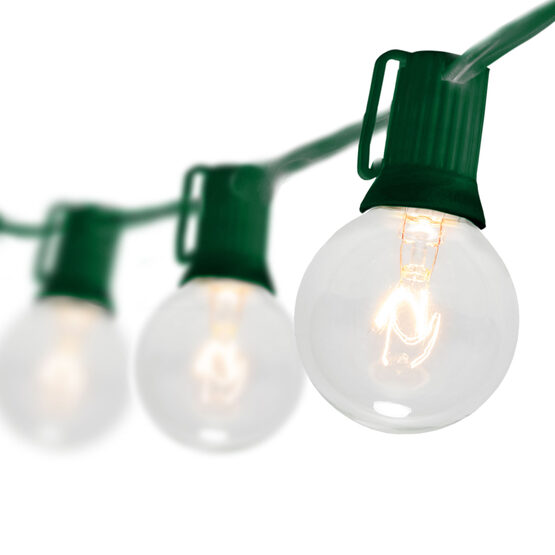 Globe String Lights, Clear G40 Bulbs, Green Wire
