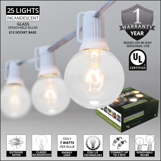 Globe String Lights, Clear G40 Bulbs, White Wire