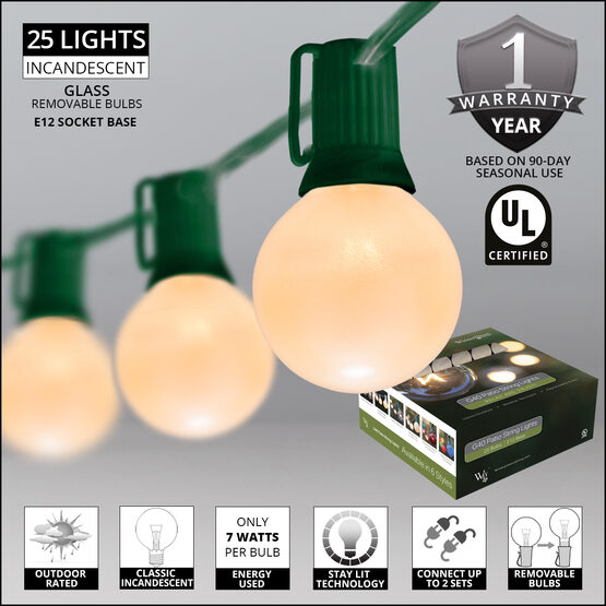 Globe String Lights, Opaque White G40 Bulbs, Green Wire