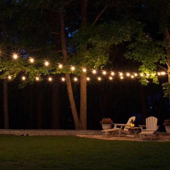 Globe String Lights, Clear G50 Bulbs, Green Wire