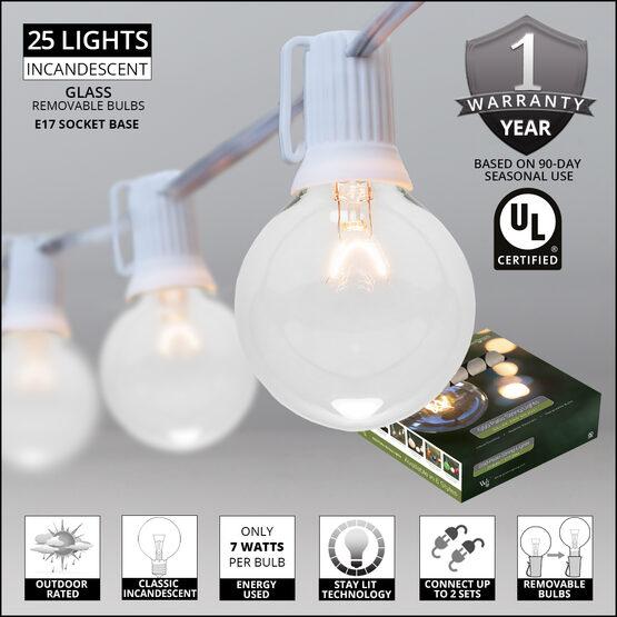 Globe String Lights, Clear G50 Bulbs, White Wire