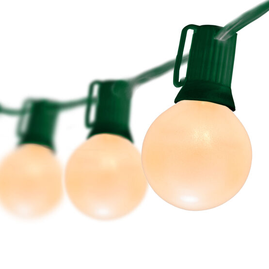 Globe String Lights, Opaque White G50 Bulbs, Green Wire