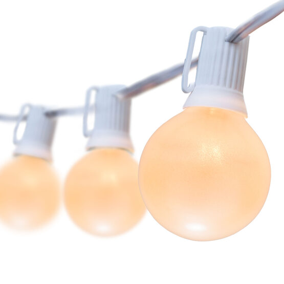 Globe String Lights, Opaque White G50 Bulbs, White Wire