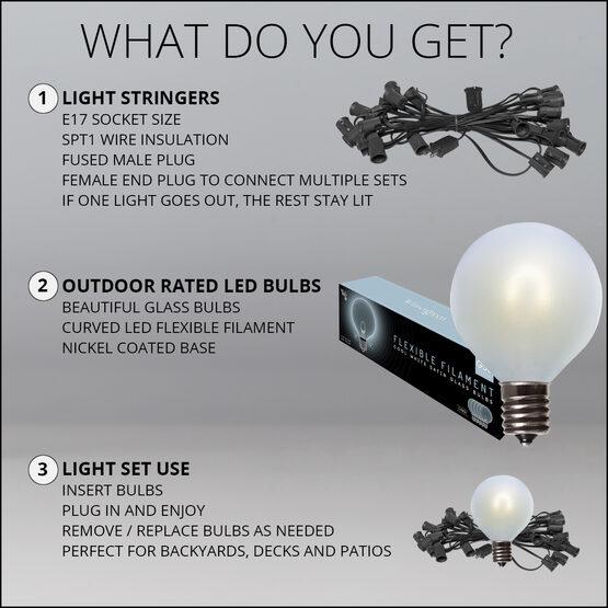 10' Patio String Light Set, 10 Cool White G50 FlexFilament LED Satin Glass Bulbs, Black Wire