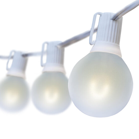 25' Globe String Light Set, 25 Cool White G50 FlexFilament Satin Glass LED Bulbs