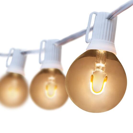 10' Patio String Light Set, 10 Warm White G50 FlexFilament LED Glass Bulbs, White Wire