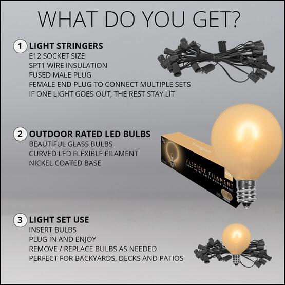 10' Patio String Light Set, 10 Warm White G50 FlexFilament LED Satin Glass Bulbs, Black Wire