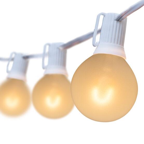 25' Globe String Light Set, 25 Warm White G50 FlexFilament Satin Glass LED Bulbs
