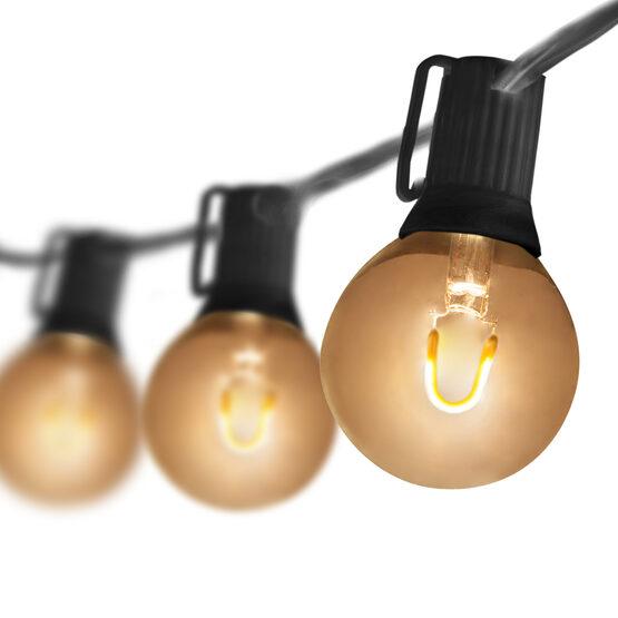 10' Patio String Light Set, 10 Warm White G50 FlexFilament LED Glass Bulbs, Black Wire