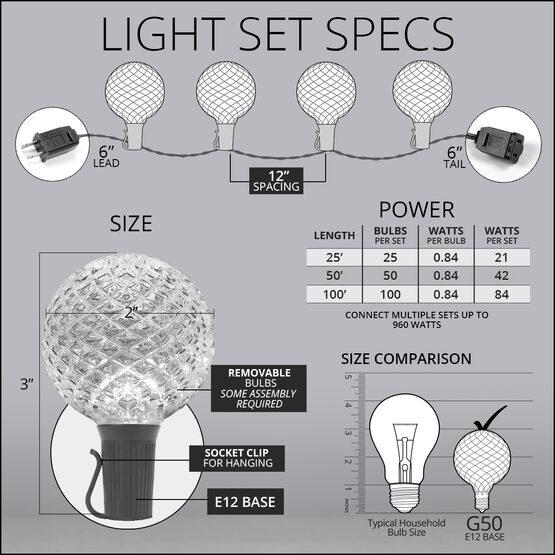 25' Globe String Light Set, 25 Warm White G50 OptiCore LED Bulbs