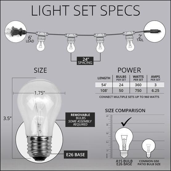 54' Outdoor Patio Light String, 24 Clear A15 Bulbs