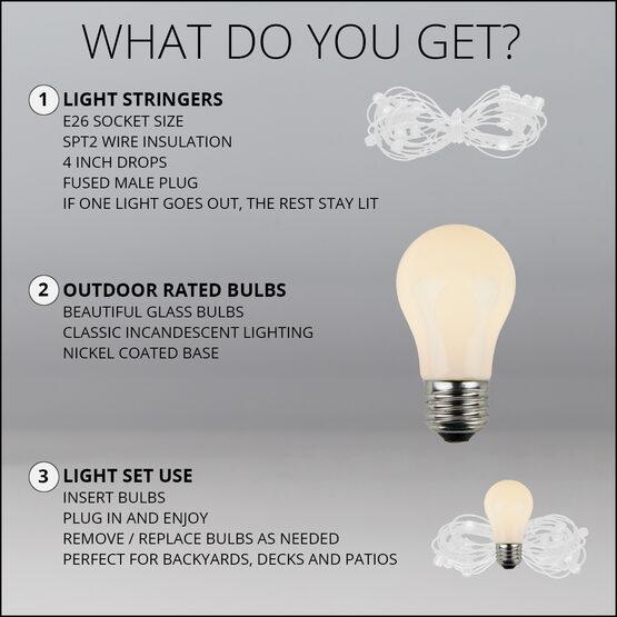 54' Outdoor Patio Light String, 24 White A15 Bulbs