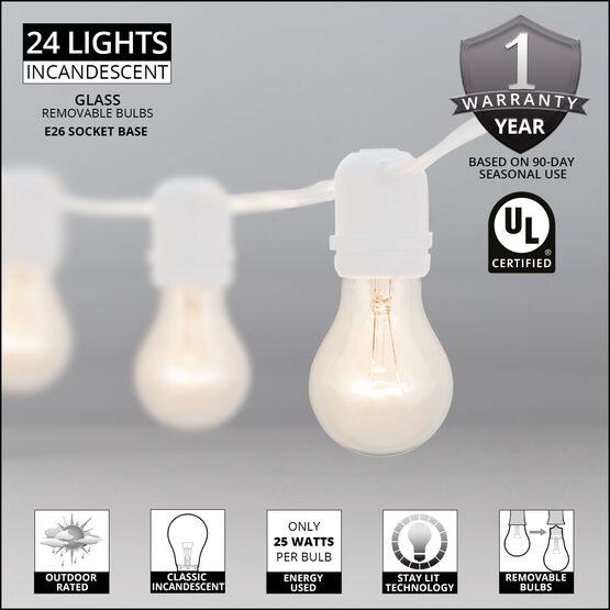 54' Outdoor Patio Light String, 24 Clear A19 Bulbs