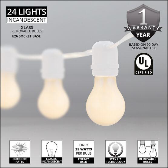 54' Outdoor Patio Light String, 24 White A19 Bulbs